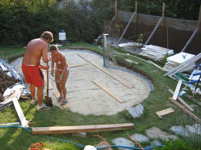 Aufbau von achtformpools - Holzpool aufbau ...