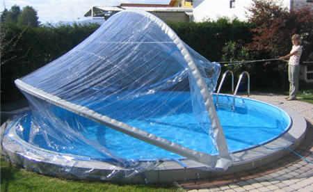 Cabrio dome poolabdeckung rundpool for Stahlwandbecken einbauen