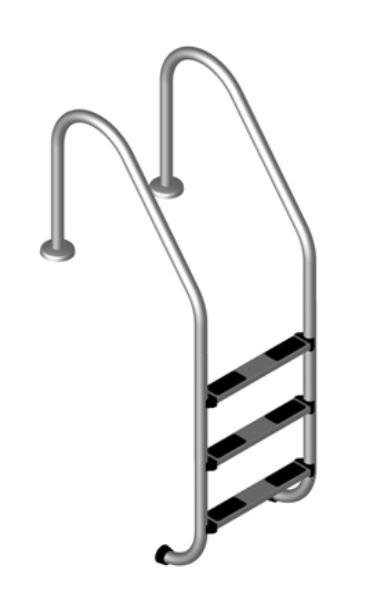 Schwimmbadleiter Poolleiter 3-stufig weit Leiter V2A Edelstahlleiter Pooltreppe